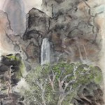 Karen Sontag-Sattel -Landscape with Waterfall
